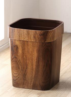 中式复古仿木纹垃圾桶家用创意客厅厨房卫生间纸篓塑料大号压圈