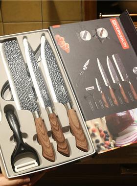 出口厨房刀具超快锋利礼盒6件套装西式厨刀切菜刀剪刀陶瓷瓜果刨