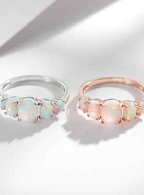 有鱼/原创设计/纯银白欧泊戒指火彩美幻彩珠宝opal澳宝欧珀蛋白石