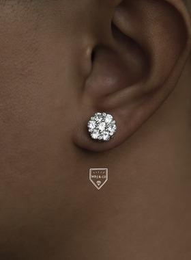 WBJ定制珠宝雪花耳钉S925银镀金纯银饰品全国包邮满镶嵌耳饰耳环