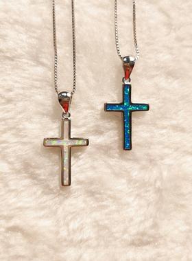 波提切利 S925纯银十字架欧泊项链 有鱼珠宝澳宝复古宫廷opal欧珀