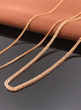 绮丽珠宝纯14K金俄罗斯585紫金项链女彩金玫瑰金粗肖邦链锁骨颈链