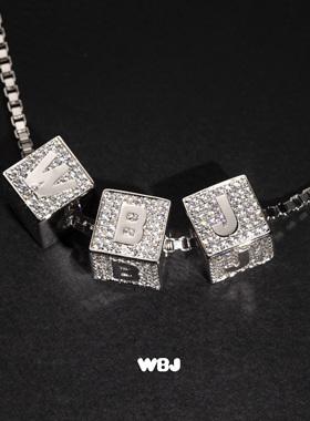 WBJ定制珠宝 DIY小方块 字母吊坠 组合吊坠 925纯银 全国包邮