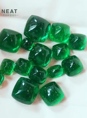 NEAT灵动珠宝swat哥伦比亚祖母绿糖塔裸石素面镶嵌钻石戒指吊坠