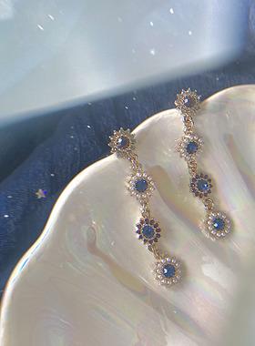 有点蓝|Mojito。复古宫廷精致珍珠宝石长款耳环女太阳花气质耳坠