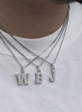 WBJ定制珠宝小字母数字定制吊坠银饰S925银镀金 满镶嵌小吊坠项链