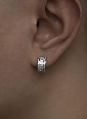 WBJ定制珠宝T方耳环S925银镀金满镶嵌耳环纯银饰品全国包邮 银饰