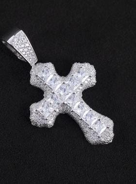 WBJ定制珠宝满镶嵌公主方群镶十字架s925银镀金银饰项链手工镶嵌