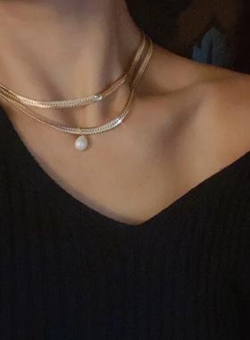 LHWindsor温莎珠宝 蛇骨巴洛克珍珠项链女欧美复古中性锁骨链潮人