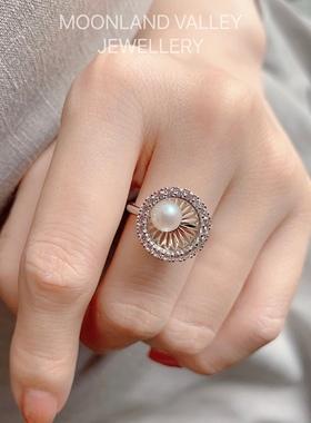 MV 珠宝 聚宝盆聚财灵动小珍珠戒指精致18K镀金原创设计 培育宝石