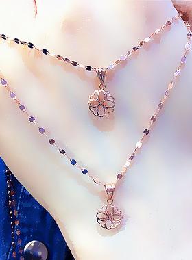 爱尚珠宝纯俄罗斯585玫瑰金项链镂空花套链紫金项链彩金素金项链