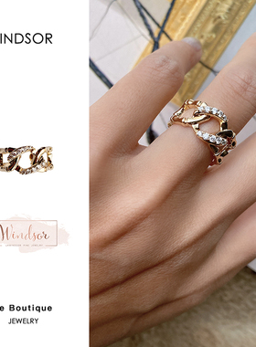 Dare买手店 LHwindsor温莎珠宝 竹节环扣金色复古锆石链条戒指