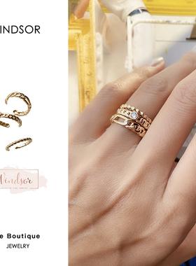 现货 买手店LHwindsor温莎珠宝三层链条金色复古小众开口戒指饰品