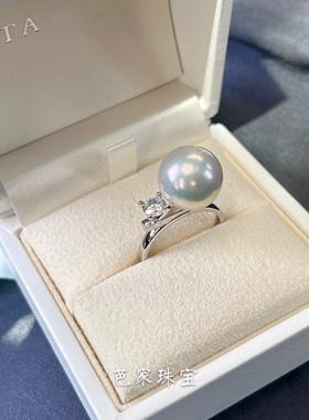 芭家珠宝 高级平衡 T家经典单钻12-13mm天然爱迪生淡水珍珠戒指