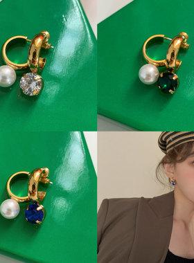 卖耳环的老大爷/法式不对称珍珠宝石撞色耳环少女感个性气质耳饰