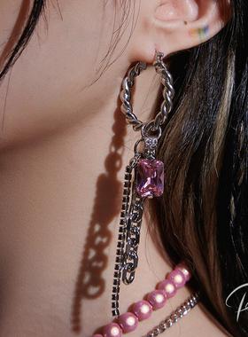 PP饰品 原创反光珠宝石流苏耳环女小众设计感耳饰个性长款耳坠潮