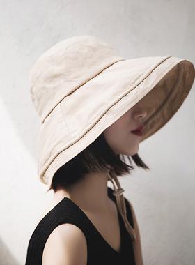 大帽檐薄款遮脸夏天大檐渔夫帽子女夏季百搭遮阳时尚可折叠防晒帽