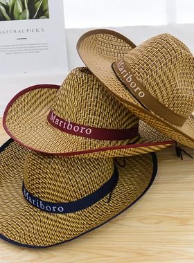 帽子遮阳草帽男士夏天户外大檐骑车钓鱼防晒太阳帽工地农民沙滩帽