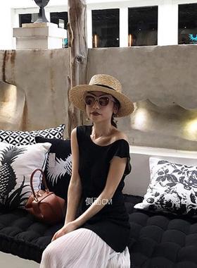 平顶帽子女夏度假海边巴拿马草帽新款法式沙滩帽网红遮阳英伦礼帽