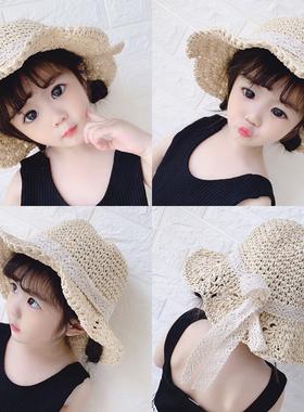 女宝宝帽子夏季遮阳渔夫帽草帽1-2岁儿童帽子公主帽3女童沙滩盆帽