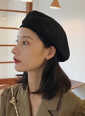 贝雷帽女夏薄款黑色八角帽子春秋款韩版网红日系英伦复古画家帽潮