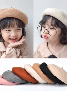 秋冬季儿童贝雷帽女宝宝复古羊绒公主帽子亲子南瓜帽小女孩礼帽