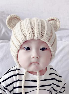 婴儿帽子秋冬新生婴幼儿男女可爱1宝宝0-3个月6儿童8毛线2护耳帽7