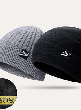 帽子男冬毛线帽女加厚保暖针织潮韩版户外棉帽护耳冬天骑车套头帽
