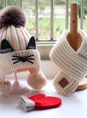 秋冬季宝宝帽子围巾套装儿童加厚针织毛线帽子围围脖手套可爱猫咪