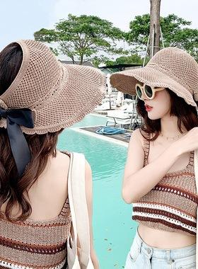帽子女2021新款春夏季日系渔夫帽户外防晒遮阳空顶帽子折叠草帽女