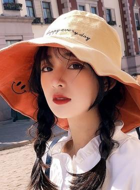 双面渔夫帽女日系大沿帽子女韩版潮夏季百搭遮阳帽防晒遮脸太阳帽