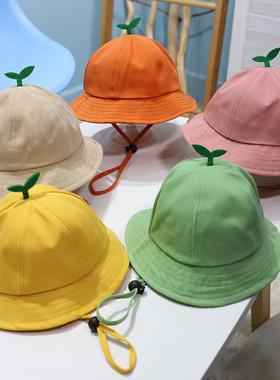 儿童帽子夏季男女童防晒小黄帽宝宝遮阳太阳帽春秋婴儿薄款渔夫帽