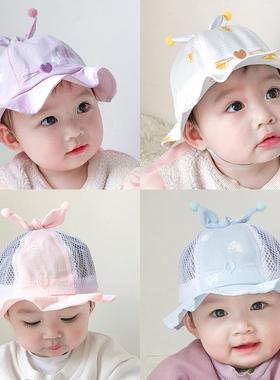 婴儿帽子夏季薄款太阳帽新生可爱超萌男女宝宝渔夫帽防晒遮阳春秋