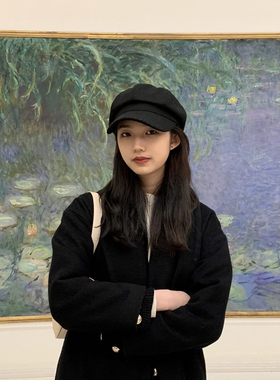韩版新款贝雷帽子女显脸小文艺复古报童帽画家帽百搭八角帽英伦款