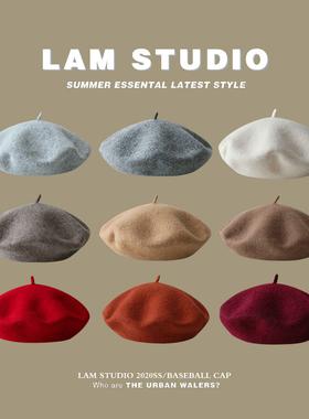 经典纯色羊毛贝雷帽女生韩版复古百搭蓓蕾帽冬季日系文艺画家帽子