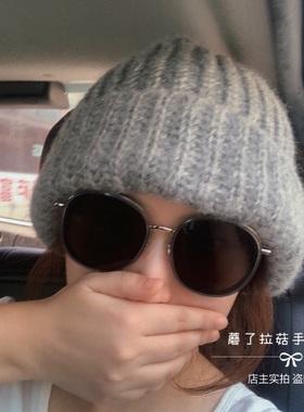 巨大的毛线帽子大头福音显脸小针织帽灰色黑色保暖厚实粗线男女