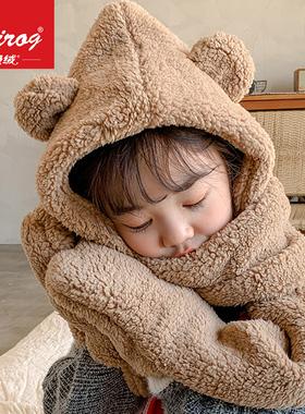 儿童帽子秋冬季宝宝男童女童可爱小熊围巾一体加绒保暖防风护耳帽