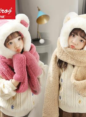 儿童帽子女童男童秋冬季可爱萌萌小熊围巾一体保暖宝宝护耳套头帽