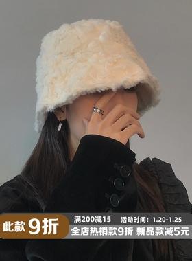 TUshu/ins风~小众毛绒渔夫帽子女秋冬时髦保暖护耳水桶帽气质百搭