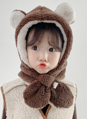 儿童帽子冬季加厚保暖护耳围巾一体婴幼儿宝宝可爱超萌男童女童帽