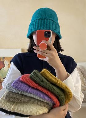 帽子女韩国东大门同款毛线渔夫帽秋冬韩版显脸小保暖针织水桶帽潮