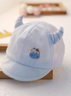 新生婴儿儿帽子夏季薄款鸭舌帽初生男女牛宝宝婴幼儿网眼遮阳胎帽