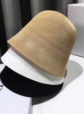 网红款渔夫帽子女夏季百搭遮脸日系复古钟型自闭水桶帽韩版潮盆帽
