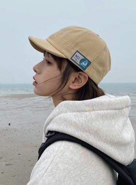 日系小众布标短檐鸭舌帽子男女夏季韩版学生街头嘻哈棒球帽百搭潮