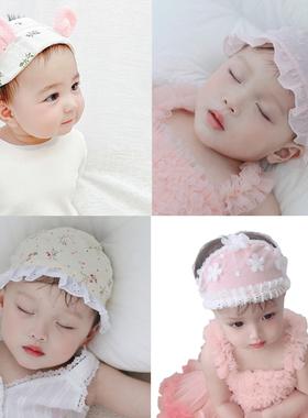 婴儿遮脑门心帽子胎帽夏季春秋可爱空顶凉帽女宝宝新生儿护囟门帽