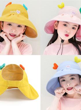儿童遮阳帽女童防晒男童太阳帽夏空顶宝宝凉帽子薄款大檐防紫外线