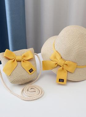 儿童遮阳帽子女童夏天新款草帽零钱包包宝宝防晒沙滩帽太阳渔夫帽