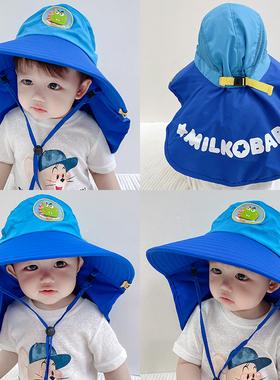 儿童帽子薄款夏季男童渔夫帽遮阳防晒帽女童防紫外线太阳帽大帽檐