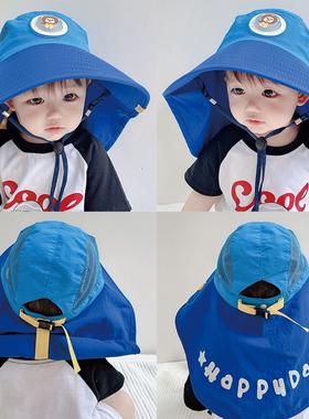 儿童护颈大帽檐遮阳帽护脖子男童女童沙滩渔夫帽夏防晒帽宝宝帽子
