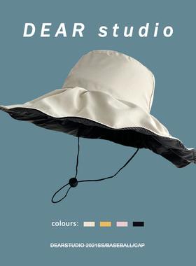 日系黑胶纯色防晒渔夫帽子女夏季百搭防紫外线太阳帽UV大沿盆帽潮